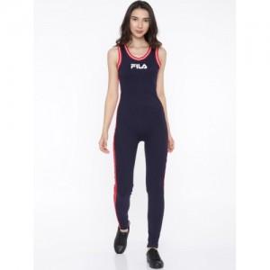 FILA Navy Blue & Red Solid Basic Jumpsuit