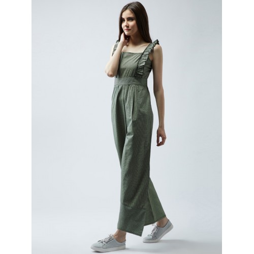 MAGRE Green Checked Basic Jumpsuit