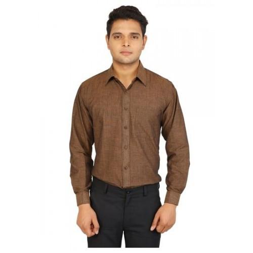 8ea4323cf3c Buy Formals by Bannasa Khadi Cotton Solid Brown Office Wear Shirt ...