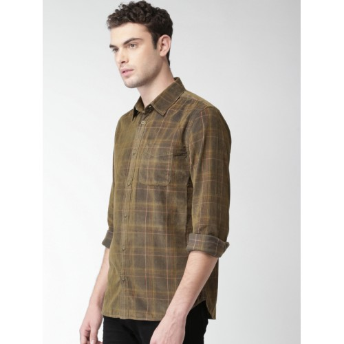 Celio Men Olive Green & Brown Checked Casual Shirt