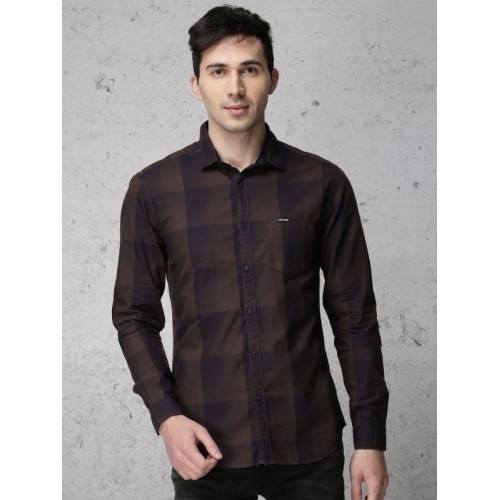 Ecko Unltd Men Navy & Brown Slim Fit Checked Casual Shirt