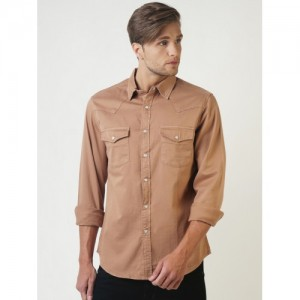 Blue Saint Men Brown Smart Slim Fit Solid Casual Shirt