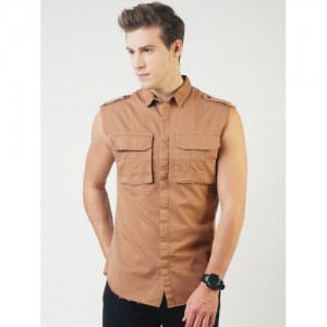 Blue Saint Men Brown Smart Slim Fit Solid Casual Shirt