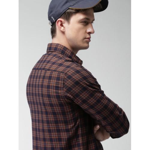 Harvard Men Brown & Navy Blue Slim Fit Checked Casual Shirt