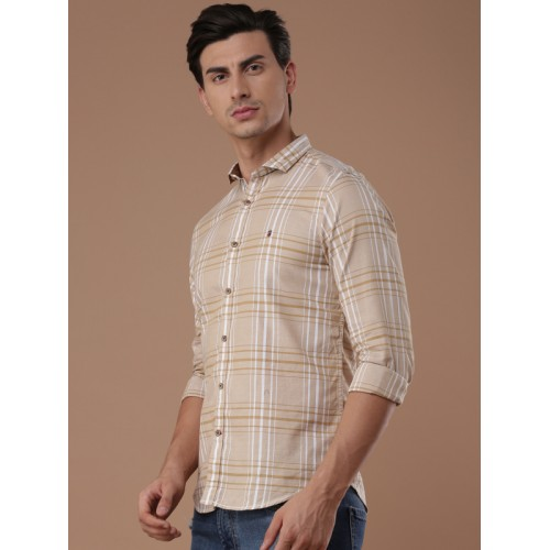 Louis Philippe Sport Beige Checked Slim Fit Casual Shirt