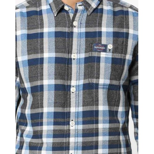 SUPERDRY Checked Shirt with Buttoned Patch Pocket