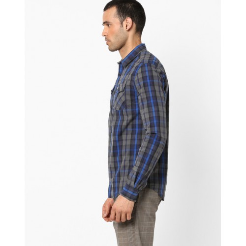 SUPERDRY Cotton Checked Shirt with Flap Pockets