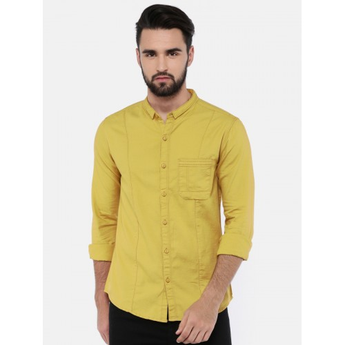 4f63b01a23d728 Buy SPYKAR Men Mustard Yellow Slim Fit Solid Casual Shirt online ...