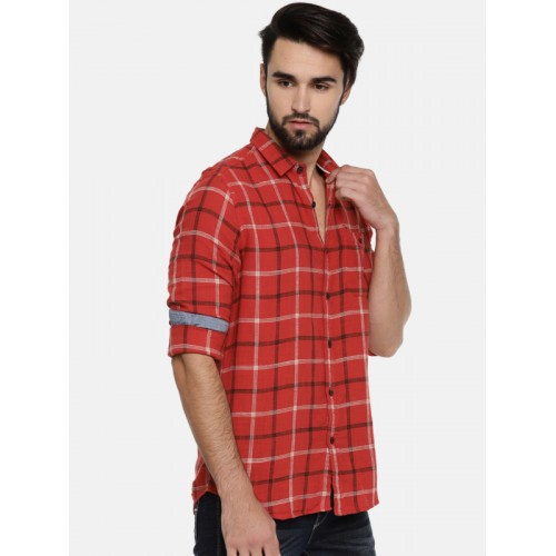 Flying Machine Red Checkered Casual Red Shirt