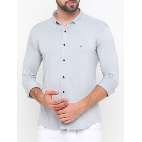 SHOWOFF grey cotton blend casual shirt