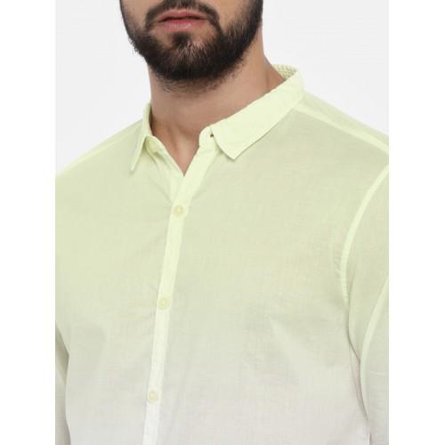 SPYKAR Men Yellow & White Slim Fit Faded Casual Shirt