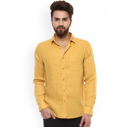 db615d7220c7cc Buy Mufti Men Mustard Yellow Slim Fit Solid Casual Shirt online ...
