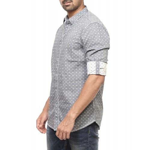 Spykar grey cotton casual shirt