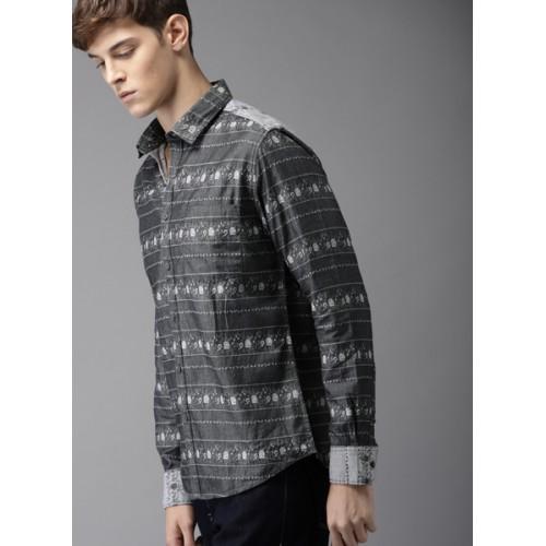 Moda Rapido Charcoal Grey Regular Fit Self Design Casual Shirt