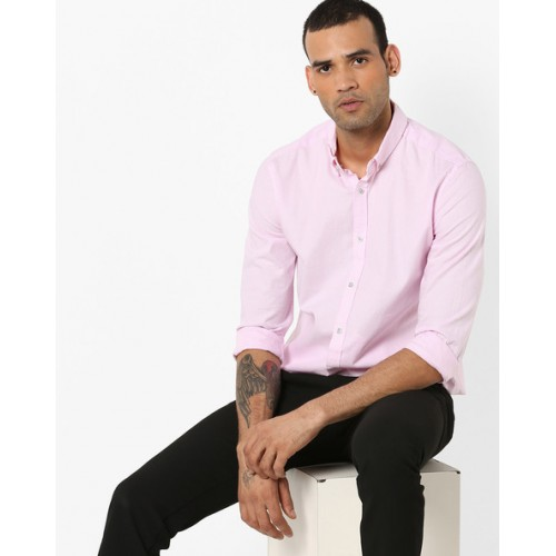 SUPERDRY Cotton Shirt with Button-Down Collar