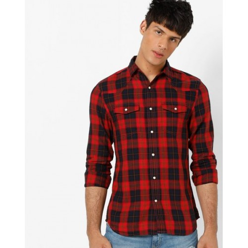cd205c0acb5 Buy Jack & Jones Slim Fit Checked Shirt with Flap Pockets online ...