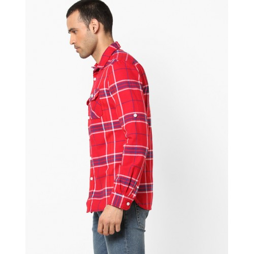 SUPERDRY Checked Cotton Shirt with Buttoned Flap Pockets