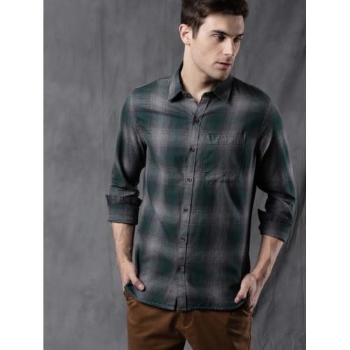 Wrogn Green & Grey Melange Regular Fit Checked Casual Shirt