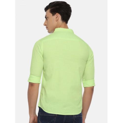 SPYKAR Men Lime Green Slim Fit Solid Casual Shirt