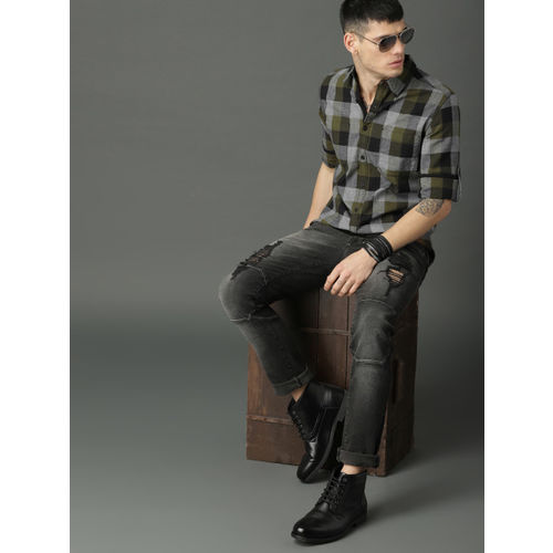Roadster Olive Green & Black Regular Fit Checked Casual Shirt