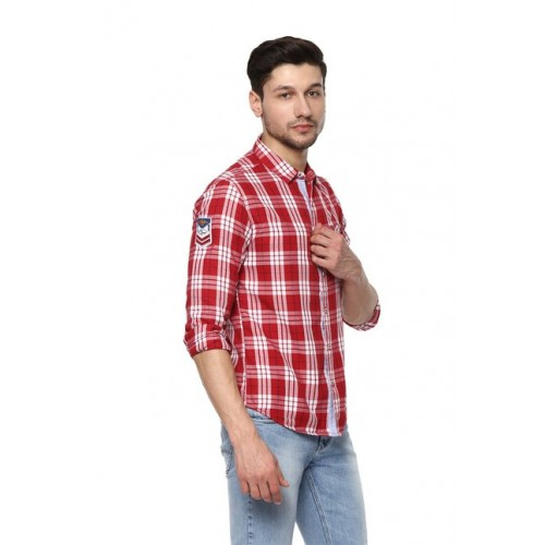 Spykar Red & White Checks Slim Fit Shirt