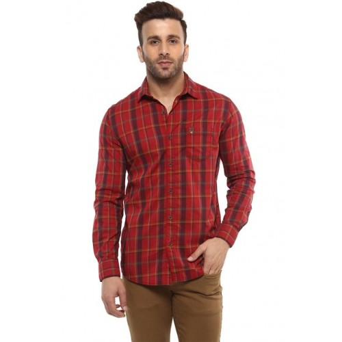 Mufti Red Full Sleeves Cotton Shirt
