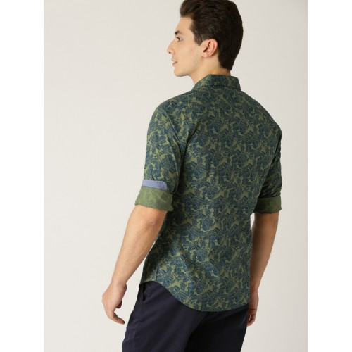United Colors of Benetton Green Printed Slim Fit Shirt