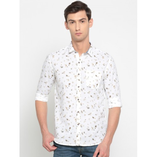 124fbe52199 ... Numero Uno Men White   Olive Green Regular Fit Floral Print Casual Shirt  ...