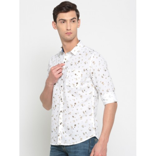 Numero Uno Men White & Olive Green Regular Fit Floral Print Casual Shirt