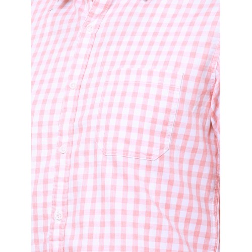 LOCOMOTIVE Men Pink & White Slim Fit Checked Casual Shirt
