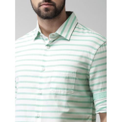 Celio Men Green & White Slim Fit Striped Casual Shirt