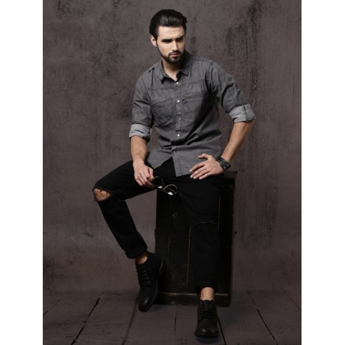 Roadster Men Grey Regular Fit Solid Casual Utility Shirt