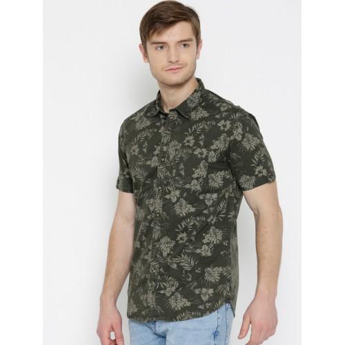 d670149313 Buy Numero Uno Men Olive Green Slim Fit Tropical Print Denim Shirt ...