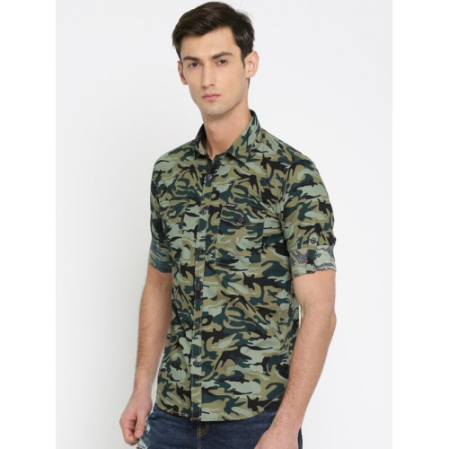 Ecko Unltd Men Green & Black Slim Fit Printed Casual Shirt
