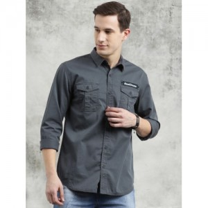 Breakbounce Men Grey Slim Fit Solid Casual Shirt