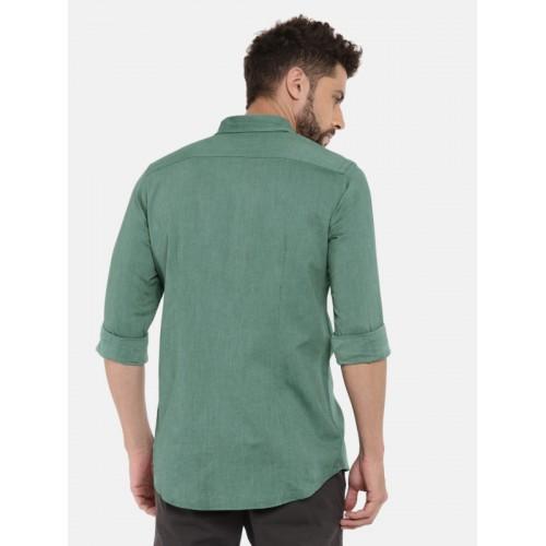 Tommy Hilfiger Men Green Snug Slim Fit Self Design Casual Shirt