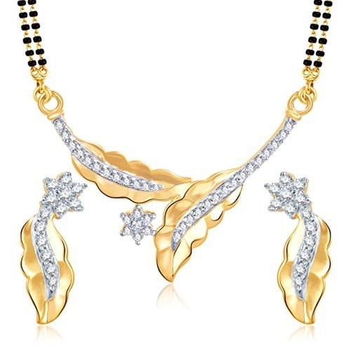 VK Jewels Leafy Star Gold And Rhodium Plated Mangalsutra Pendant with Earrings