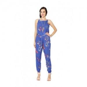 People Blue Printed Jumpsuits