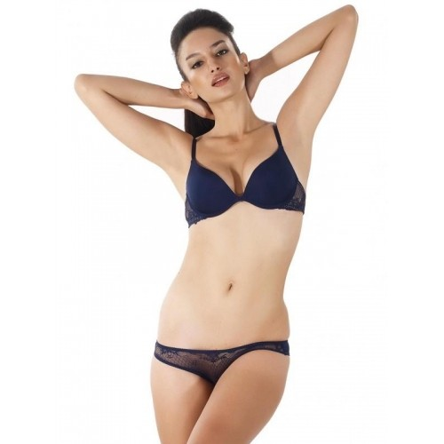 4126431573 Buy Shyle Dark Blue Underwired Bra   Panty Set online