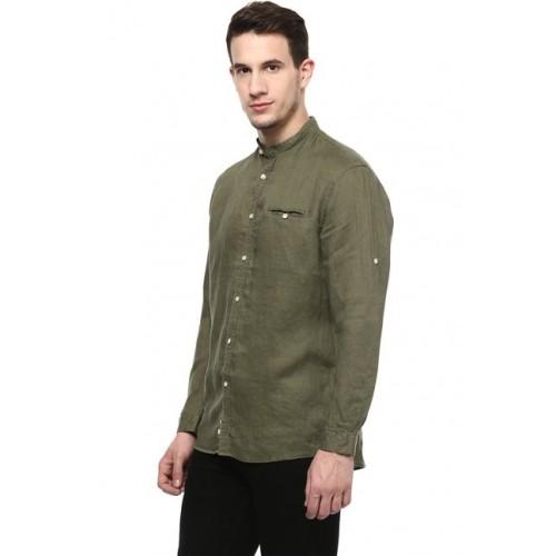 celio* Olive Full Sleeves Regular Fit Linen Shirt