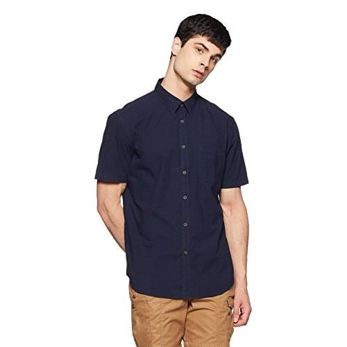 Indian Terrain Blue Cotton Solid Regular Fit Casual Shirt