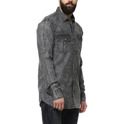 8b7384da78 Buy Urbano Fashion Men S Charcoal Grey Denim Solid Casual Shirt ...