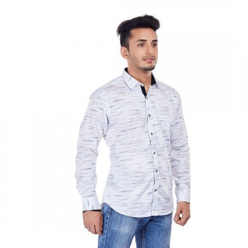 31f0ed962b Buy EVOQ White printed shirt with contrasting collar band and inner ...