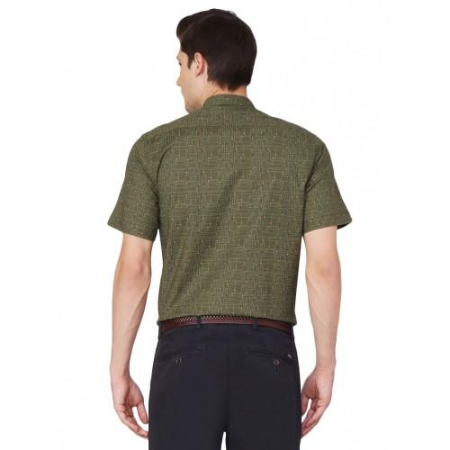 Van Heusen green cotton blend casual shirt