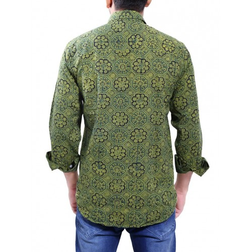 DIVINITY green cotton casual shirt