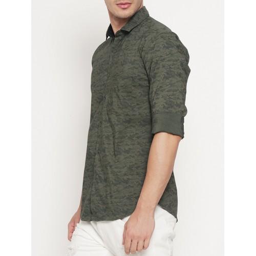 I-VOC olive green cotton casual shirt