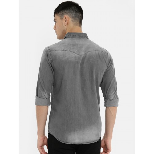 Being Human Clothing Men Grey Slim Fit Faded Casual Shirt