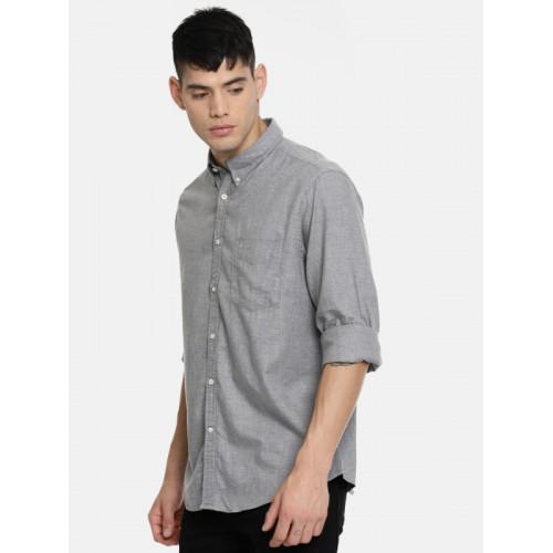 0aa17262492 Buy Indian Terrain Men Grey Slim Fit Solid Casual Shirt online ...