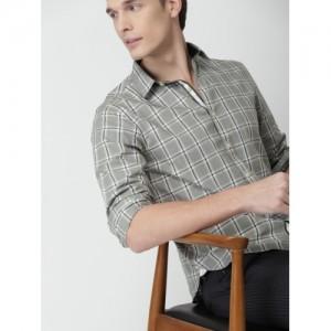 INVICTUS Men Grey Slim Fit Checked Casual Shirt