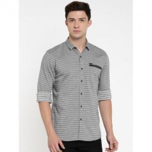 Wrangler Men Grey & Black Regular Fit Striped Casual Shirt